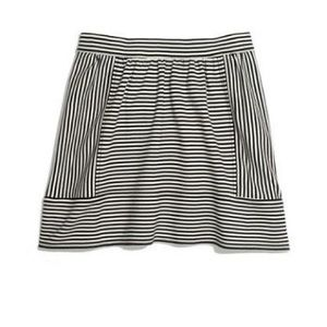 Madewell black and white pinstriped mini skirt
